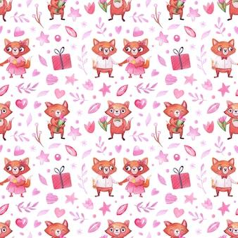 休日、バレンタインデー、誕生日などにかわいいキツネの水彩画柄。