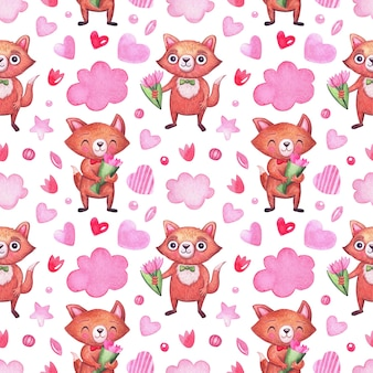 Watercolor pattern with cute foxes for the holidays, valentine's day, birthday and others