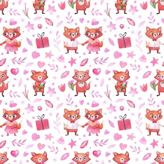 Watercolor pattern with cute foxes for the holidays, valentine's day, birthday and others.