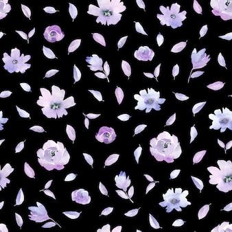 Акварельный образец с разными цветами сирени. черный фон.