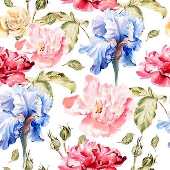 Акварельный образец с цветами ириса, пионами и розами, бутонами и лепестками. иллюстрация