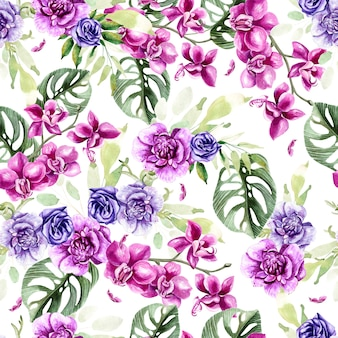 난초와 아네모네, 열대 잎으로 된 수채색 패턴입니다. 삽화
