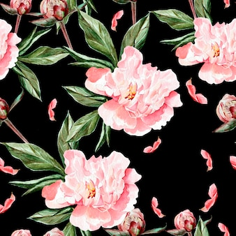 花、牡丹、つぼみ、花びらの水彩パターン。図