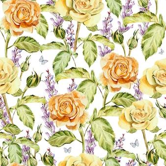 花のバラ、つぼみ、ラベンダーと水彩パターン。図