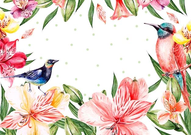 花バラ、つぼみ、ラベンダー、鳥と水彩パターン