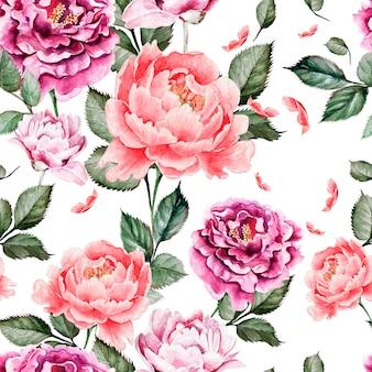Акварельный узор с цветами роз, бутонов, лаванды и птиц