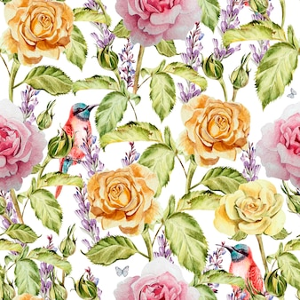 Watercolor pattern with flowers roses, buds, lavender and bird. illustration