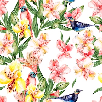 Watercolor pattern with flowers roses, buds, lavender and bird