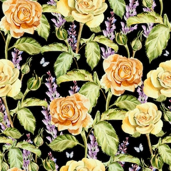 Watercolor pattern with flowers roses, buds and lavender. illustration