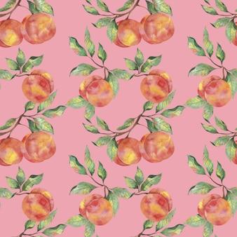 Акварельный узор с плодами спелых персиков с ветвями листьев на розовом фоне