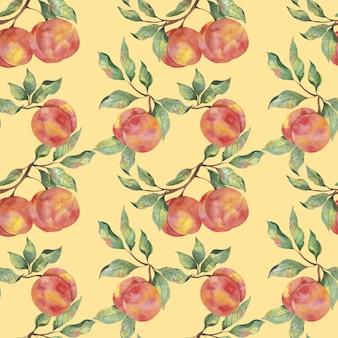 Акварельный узор с плодами спелых персиков с ветвями листьев на желтом фоне