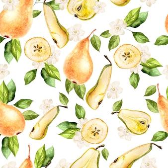 Акварельный образец с грушами и цветами. иллюстрация.