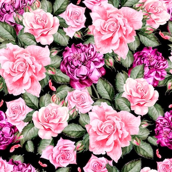 Watercolor pattern with peony flowers and roses . illustration