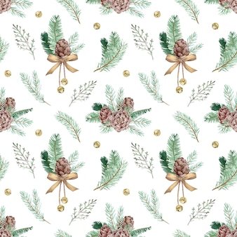 Watercolor pattern with pine branches, cones and jingle bells. winter forest seamless background. christmas botanical pattern
