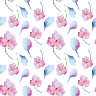 Watercolor pattern with pink poppies