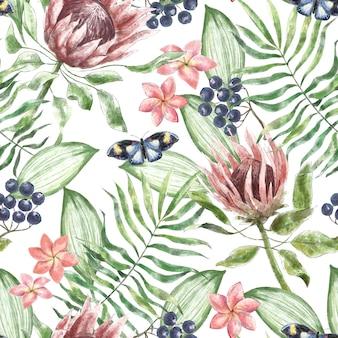 Watercolor pattern with protea plumeria flowers butterflies dark berries in tropical leaves