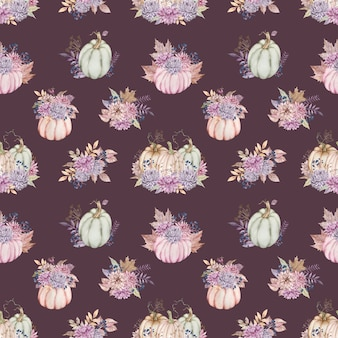 ダリアとアスター、ベリー、紅葉のカボチャの花束と水彩画のパターン。