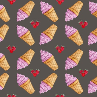 Watercolor pattern with raspberry ice cream