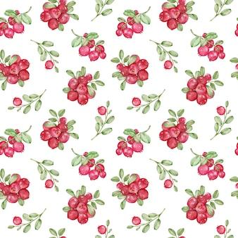 Акварельный рисунок с красной брусникой и зелеными листьями. лесные ягоды бесшовный фон.