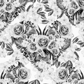 バラと別の花の水彩画のパターン