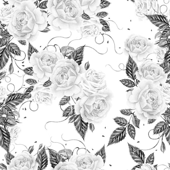 Watercolor pattern with roses and leaves
