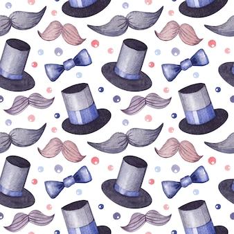 男の子と紳士のためのシルクハット、蝶ネクタイ、星と口ひげの水彩パターン