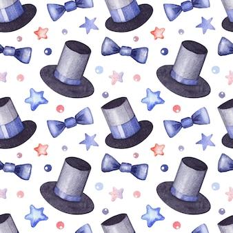 シルクハット、蝶ネクタイ、男の子と紳士のための星と水彩画のパターン。