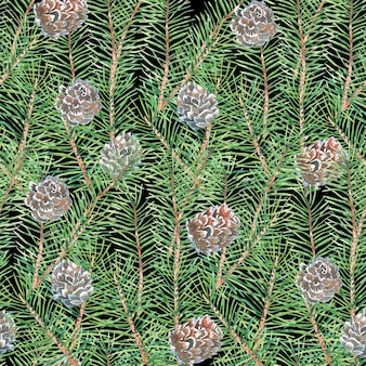 Watercolor pattern with tree branches, pine, pine cone, abstract green pattern