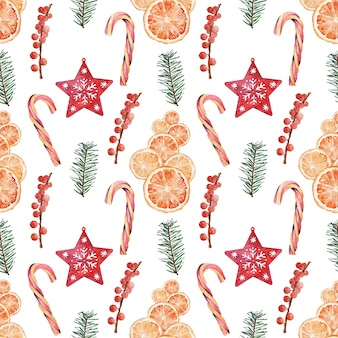 クリスマスのさまざまなお祝いの属性を持つ水彩画のパターン