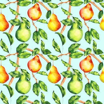 Watercolor pear seamless pattern on light blue background. bright fruit tree repeat print. botanical background for textile, fabric, wallpaper, wrapping paper, design and decor.