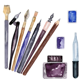 Watercolor pencils, brushes and writing supplies