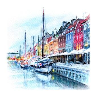 덴마크의 수도 코펜하겐의 구시가지에 있는 오래된 집과 선박의 화려한 외관을 갖춘 니하운의 수채화 연필 스케치