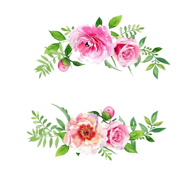 Цветочная композиция акварель пион и лютик, изолированные на белом фоне