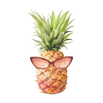 サングラスをかけた水彩パイナップル。手描きの白い背景に分離されたモダンな装飾的なフルーツ。夏のイラスト