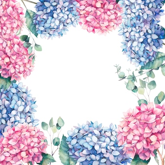 水彩のピンクとブルーのアジサイフレーム。手描きの庭の花とユーカリの葉の植物図。白い背景の上の自然なカードデザイン