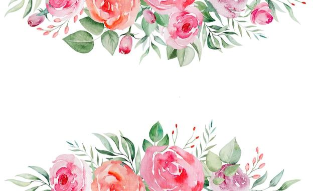 水彩ピンクと赤のバラの花と葉の境界線