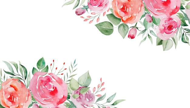 水彩ピンクと赤のバラの花と葉のフレーム