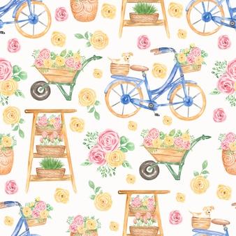 水彩のピンクと黄色の花柄のパターン。青い自転車、カートの花のシームレスなパターン