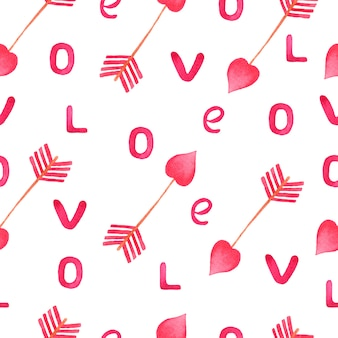 Watercolor pink arrow and love letters pattern.