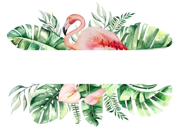 Акварель розовый фламинго, тропические листья и цветы кадр изолированных иллюстрация для свадебных канцелярских принадлежностей, поздравления, обои, мода, плакаты