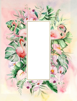 Watercolor pink flamingo, tropical leaves and flowers frame illustration with watercolor background. wedding invitations,  stationary, greetings, fashion, posters