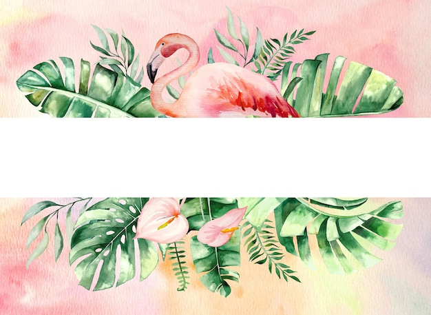 Watercolor pink flamingo, tropical leaves and flowers frame illustration with watercolor background. wedding invitations,  stationary, greetings, wallpaper, fashion, posters