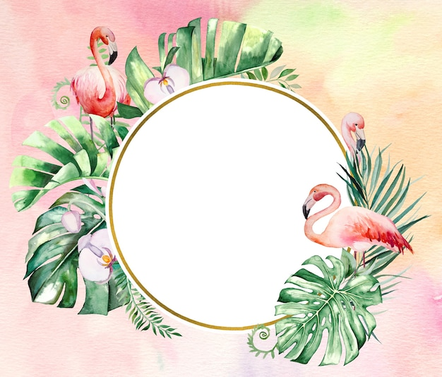 Watercolor pink flamingo, tropical leaves and flowers frame illustration