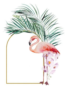 Watercolor pink flamingo, tropical leaves and flowers frame isolated illustration for wedding stationary, greetings, wallpaper, fashion, posters