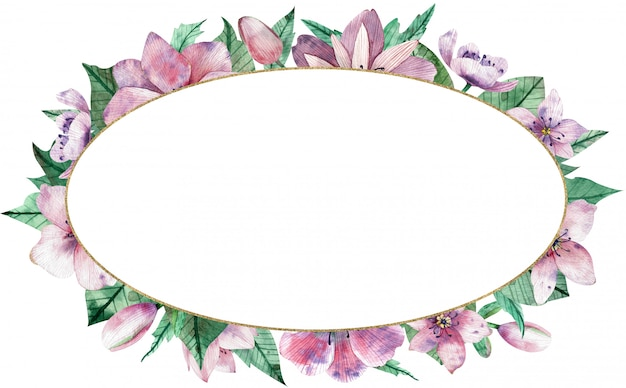 Watercolor pink floral oval frame with flowers and central white background.
