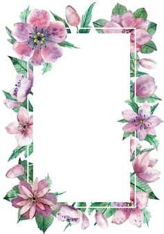 Watercolor pink floral vertical frame with the central white copy space for text