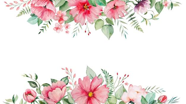 Акварельные розовые цветы и зеленые листья границы карты, романтическая пастельная иллюстрация с акварельным фоном