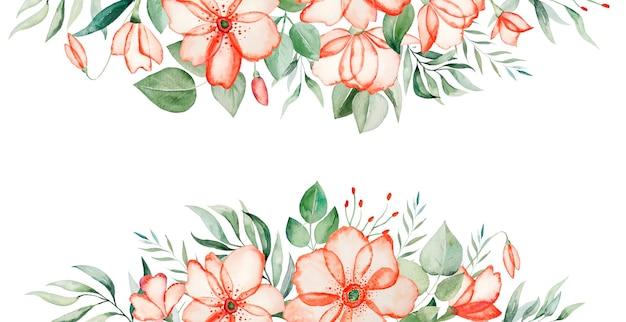 수채화 핑크 꽃과 녹색 잎 테두리 프레임 그림 절연