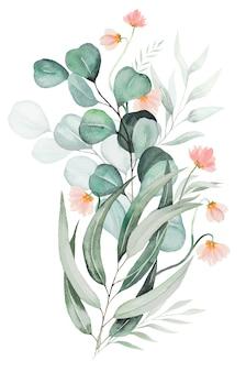수채화 핑크 꽃과 녹색 잎 꽃다발 그림 절연