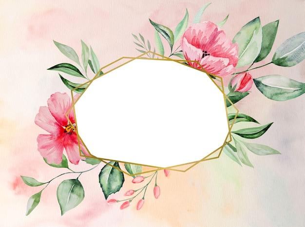 Акварельные розовые цветы и зеленые листья кадр карты, романтическая пастельная иллюстрация для свадьбы, поздравления, обои, мода, плакаты